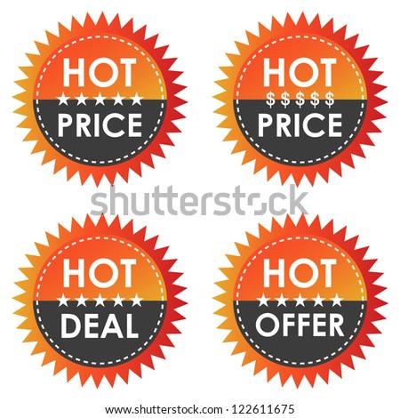 Hot orange price discount labels.
