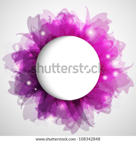 Hot pink abstract flower with copy space