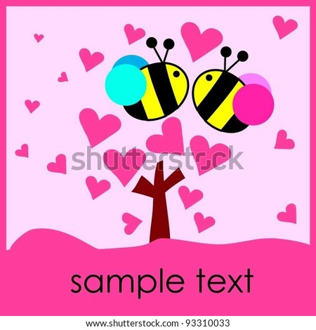 hot pink love heart tree with two bee Valentine's Day card