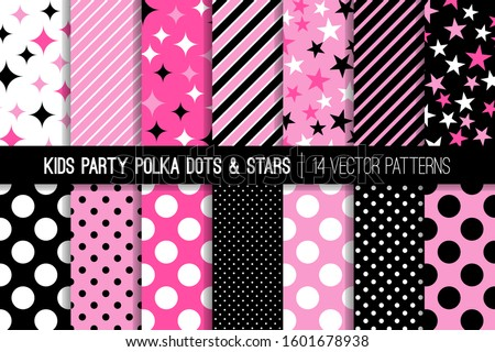 Hot Pink, Pink, Black and White Polka Dots, Stars and Stripes Vector Patterns. Cute Girly Backgrounds. Kids Party Decor. Children Birthday Invitation Backdrops. Pattern Tile Swatches Included