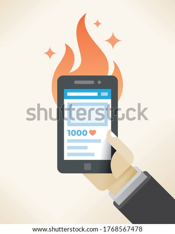 Hot popular social media post with fire. Abstract illustration of networking new burning article / news event with many community likes. Blogging and vlogging (Facebook, Youtube video logging) concept