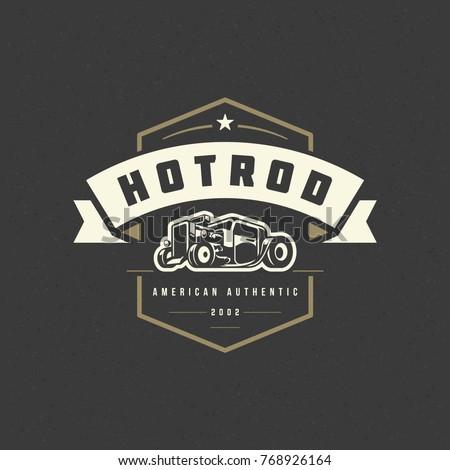 hot rod car logo template