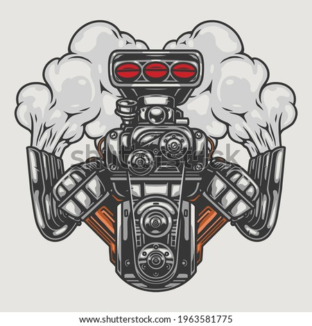 Hot rod or muscle car engine with smoke in vintage style isolated vector illustration