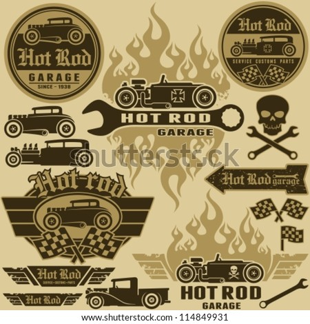 Hot rod style labels and signs set. Vector design elements. - stock vector