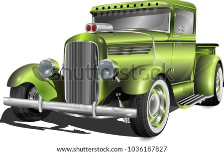 hot rod truck fully editable