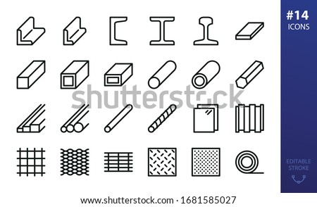Hot rolled steel outline icons set. Set of metal products, steel angle, channel, rail, i beam, flat metal bar, steel tube, pipe, expanded metal, perforated sheet, bar grating, rebar, wire mesh icon