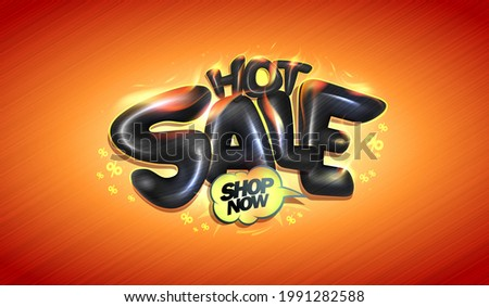 Hot sale vector banner or poster mockup with 3D burning shiny letters