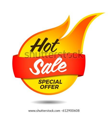 Hot sale vector flaming label sticker banner symbol template design tag