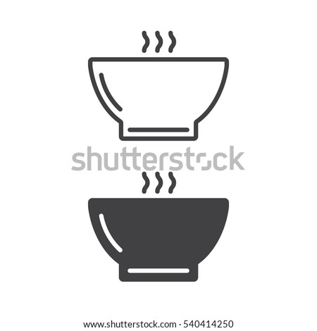 Hot soup bowl line icon, outline and filled vector sign, linear and full pictogram isolated on white. Symbol, logo illustration