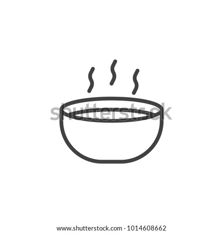 Hot soup bowl line icon, outline vector sign, linear style pictogram isolated on white. Symbol, logo illustration. Editable stroke