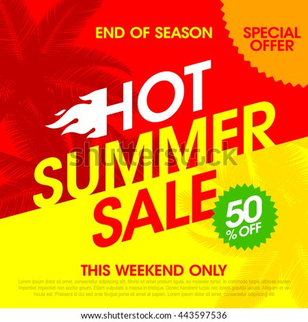 Hot Summer Sale banner design template