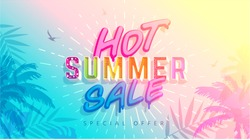 Hot Summer Sale banner. Trendy texture. Season vocation, weekend, holiday logo. Summer Time Wallpaper. Happy shiny Day. Modern vector Lettering. Fashionable styling.