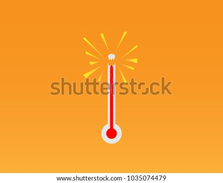 Hot thermometer bursting. - Illustration Thermometer, Goal, Instrument of Measurement, Exploding, Heat - Temperature,mercury