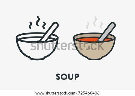 Hot Tomato Vegetable Soup Bowl Plate and Spoon Portion Minimal Flat Line Outline Colorful and Stroke Icon Pictogram