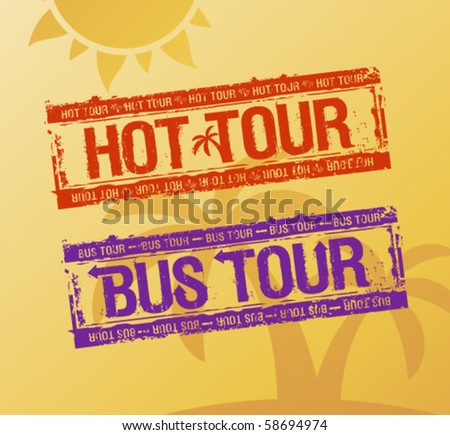 Hot tour rubber stamps set on a beach background