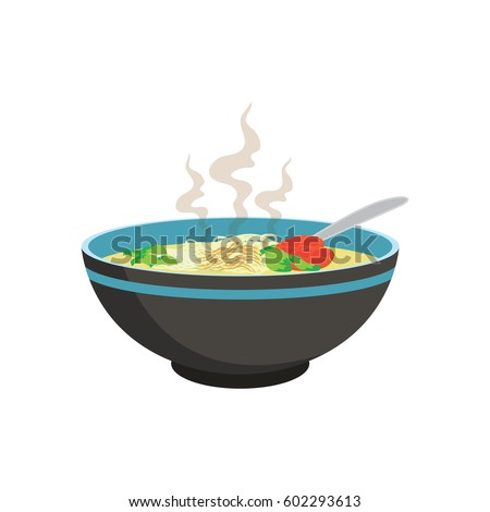 hot white noodle soup with vegetable in chinese bowl and spoons on white background, vector illustration