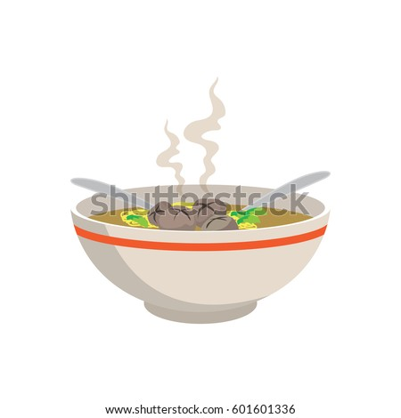 hot yellow noodle soup with