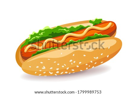 Hotdog American fast food with Lettuce and sausage design. isolated on white background Eps 10 vector illustration