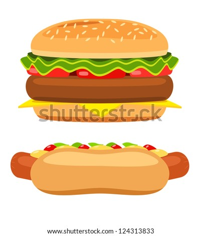 Hotdog and burger on white background. Illustration