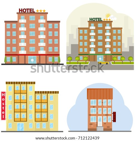 Hotel, a hotel suite, a hostel, a place to stay overnight. Flat design, vector illustration, vector.