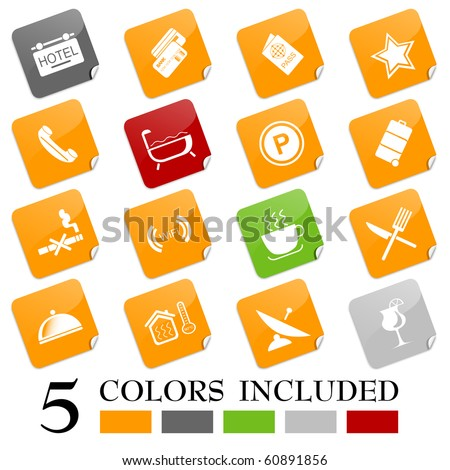 Hotel and accommodation icons. EPS includes each icon in 5 colors.
