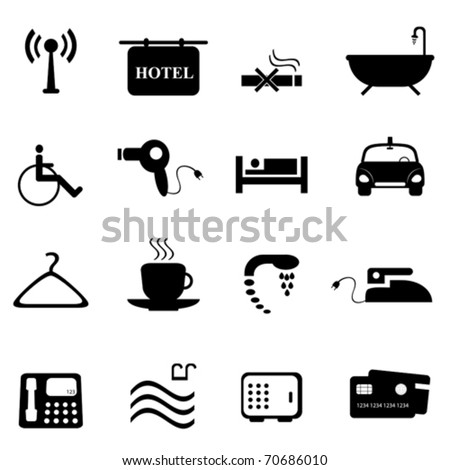 Hotel and accommodations icon set