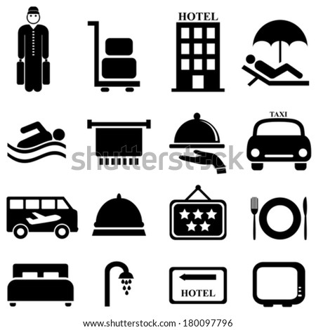Hotel and hospitality icon set