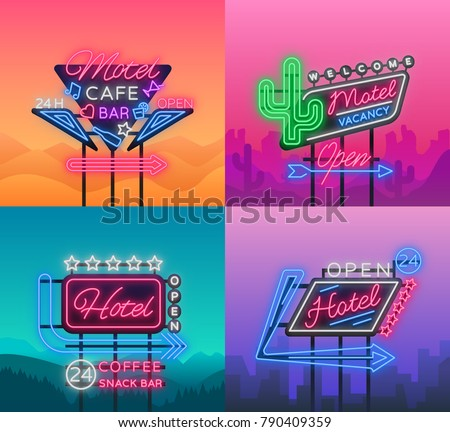 Hotel and Motel are collection of neon signs. Vector illustration. Collection of Retro signboards, billboard with an indication of hotel or motel, night neon advertisement of hotel, luminous banner