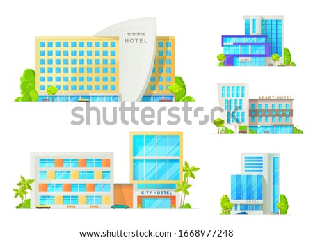 Hotel and motel buildings architecture isolated icons. Luxury apart hotel, city hostel apartments, resort with glass facade, parked cars and palm trees. Cartoon vector hotel buildings