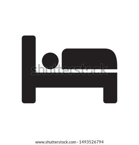 Hotel, bed icon flat design illustration