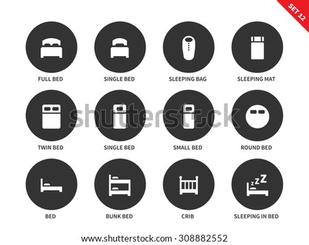 hotel beds vector icons set for