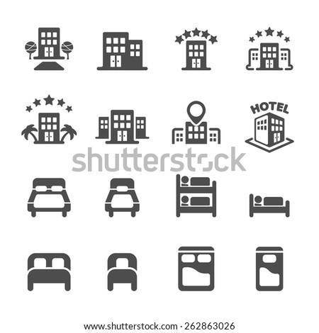 hotel building and bedroom icon set, vector eps10.