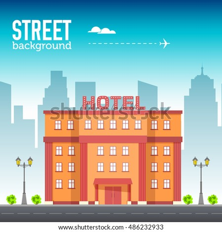 Hotel building in city space with road on flat syle background concept. Vector illustration design #486232933