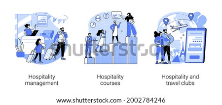 Hotel business abstract concept vector illustration set. Hospitality management and courses, travel clubs, travel office, hospitality staff training, travelers community network abstract metaphor.