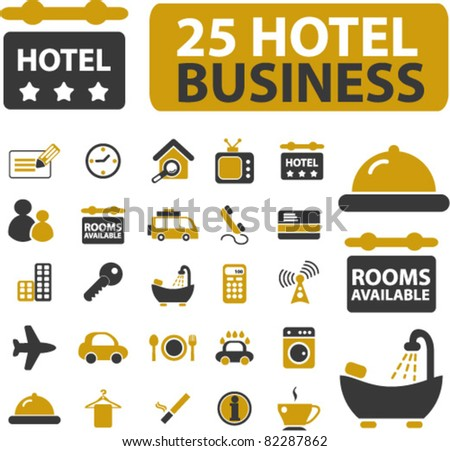 hotel business icons, signs, vector illustrations