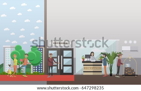 hotel check in concept vector