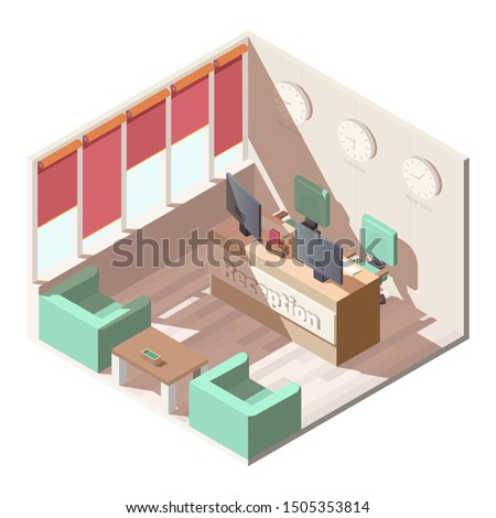 Hotel, company office reception hall interior with comfortable armchairs and coffee table, computer monitors on receptionists desk, different time zones clocks on wall isometric vector illustration