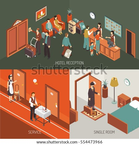 Hotel concept isometric banner and icons combination with reception desk service and single room isolated vector illustration