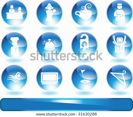 Hotel Crystal Icon Set : Spa and resort themed buttons.