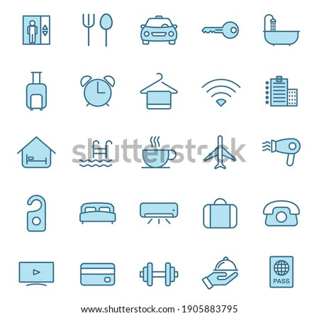 hotel flat vector icons in two