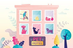 Hotel for different domestics animals. Various cute pets in building windows. Concept of business, holiday and petcare. Large sign board with paws at entrance. Trendy flat vector illustration