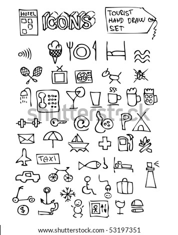 hotel hand drawn symbols set
