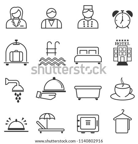 Hotel, hospitality and resort line web icon set