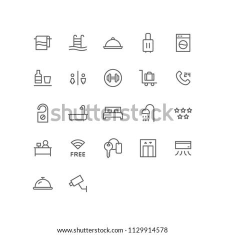 Hotel Icon Design Vector Symbol Set including towel, swimming pool, platter, suitcase, laundry, minibar, restroom, fitness, receptionist, room, bed, bathtub, key, wifi, lift #1129914578