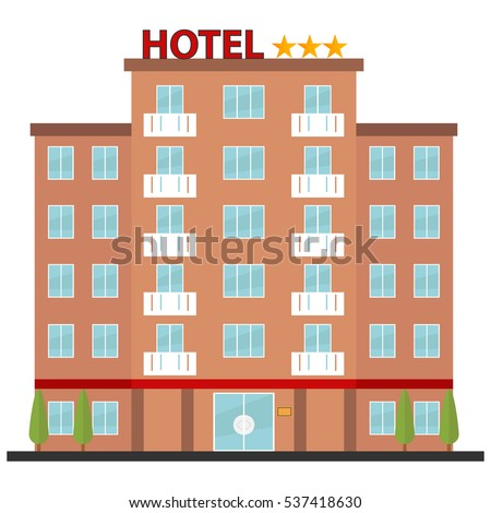 Hotel, icon hotel, reservation, porter, recreation, building. Flat design, vector.