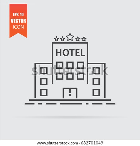 Hotel icon in flat style isolated on grey background. For your design, logo. Vector illustration.