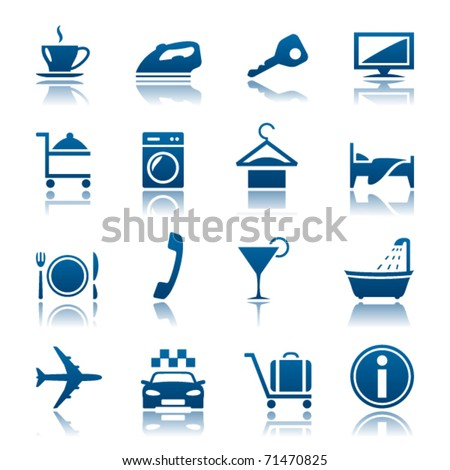 Hotel icon set - stock vector