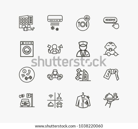 Hotel Icon Set And Dry Cleaning With Room Key Complementary Service Pediatrician
