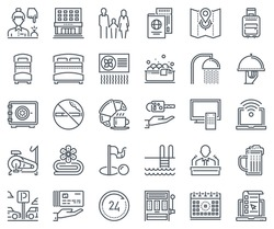 Hotel icon set suitable for info graphics, websites and print media and  interfaces. Line vector icons,signs.