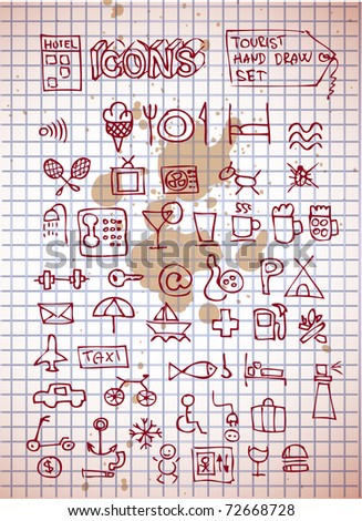 hotel icons on old paper background